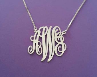 Monogram Necklace Personalized Monogram Necklace Halloween Gift For Her White Gold Monogram Necklace Name Xmas Gifts Neckalce Monogram