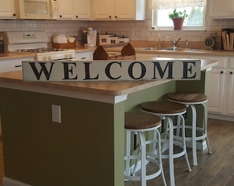 Welcome Sign, Hand Painted Sign, Wood Sign, Rustic Sign, Distressed Sign, Farmhouse Decor