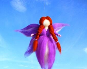 Needle Felted Wool Fairy, Wool Angel Waldorf Birthday Fairy Merino wool angel Needle felted Blueberry Fairy, Elf Kendal Fairies by Jade Shen