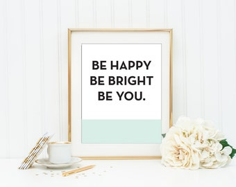 KATE SPADE Be Happy Be Bright Be You Mint and Coral Wall Art Kitchen Wall Art Girls Room Wall Art Quotes Dorm Room Print Office Decor