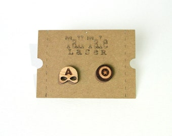 Captain America Shield and Mask Hypoallergenic Wooden Earrings