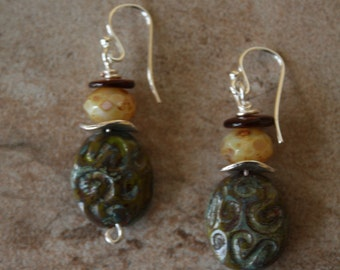 154 Czech glass and shell dangle earrings, sterling ear wires, boho, artisan, rustic, wire wrapped