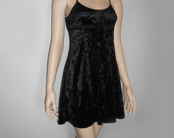 90s Vtg Black Velvet Goth Grunge Clueless Mini Strap LBD Bow Dress size Small Medium