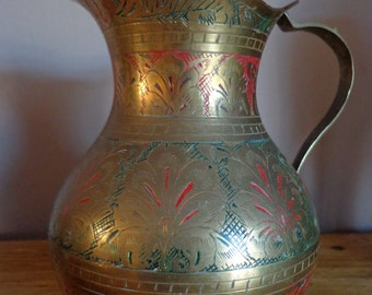 Beautiful Vintage Brass Indian Jug/Ewer/Pitcher, Vintage Brass Red And Green Inlaid Indian/Arabic Pitcher/Ewer/Jug, Fantastic Floral Inlay