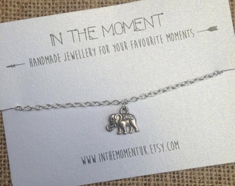Elephant Bracelet, Elephant Anklet, 5 Size Options, Elephant Charm Bracelet, Elephant Charm Anklet, Indie Jewelry, Gift for Her, Boho Hippie