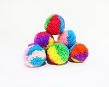 10 Large Size Multicolored Pom Poms Handmade Wholesale Craft Supplies