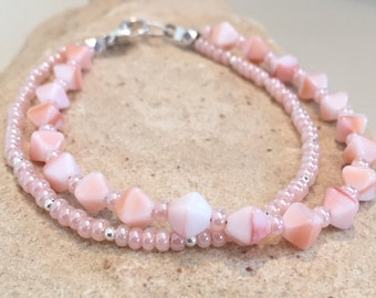 Pink/peach bracelet, Czech glass seed bead bracelet, double strand bracelet, sterling silver bracelet, sundance style bracelet boho bracelet