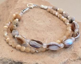 Double strand silver bracelet, mother of pearl bracelet, brown bracelet, neutral bracelet, sundance style bracelet, boho bracelet
