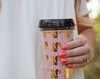 Fox Pink and Gold Travel Coffee Mug