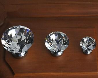 Glass Knobs / Clear Crystal Knob / Drawer Knobs / Dresser Pulls Handles / Cabinet Knob Sparkly Furniture Decorative Knobs Hardware Silver