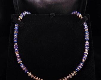Necklace citrine quartz - lapis lazuli