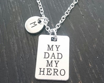 My Dad my Hero Necklace, My Dad my Hero Charm, My Dad my Hero Pendant, Dad Necklace, Daddy Necklace, Dad Jewelry, Daughter Necklace, My Dad