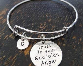 Trust in your Guardian Angel Bangle Bracelet, Adjustable Expandable Bangle Bracelet, Guardian Angel Bracelet, Guardian Angel Charm,Christian