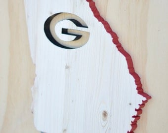 Georgia Bulldogs State Wood Cutout