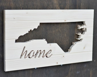"North Carolina State Wood Silhouette Cutout ""Home"""