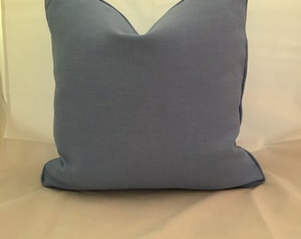 20 x 20 Cornflower Blue Linen Feather Down Decorative Throw Pillow with Cording