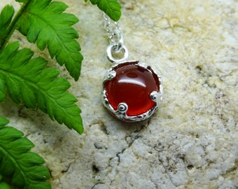 Birthstone jewellery, July birthday, Carnelian, Sterling silver necklace, Red, Orange  Pendant, gift for her