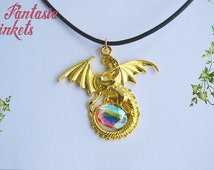 Golden Dragon with Color Shifting Aurora Borealis Glass Jewel - Pendant Necklace - Fantasy Jewelry