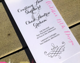 Black and White Calligraphy Layered Wedding Program - Four layers wedding ceremony program