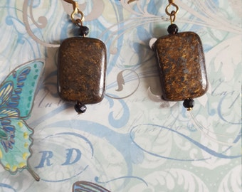 Bronzite Rectangle Earrings