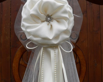 Set of 6 Ivory Pew Bows Chair Bows  Wedding Bows Pew Church Aisle Decorations