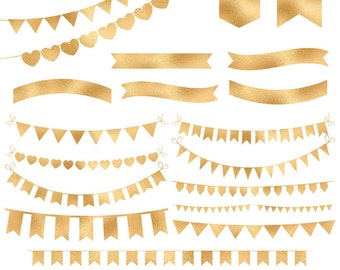 Gold foil bunting banners clipart, bunting clipart, golden ribbon, gold foil ribbon, digital gold bunting, download