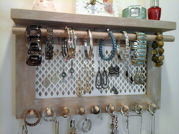 jewelry organizer wall mount necklace bracelet ring earring. Black Bedroom Furniture Sets. Home Design Ideas