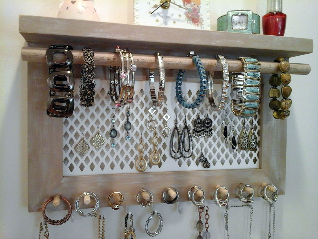 Jewelry organizer wall mount necklace bracelet ring earring for Make your own jewelry rack