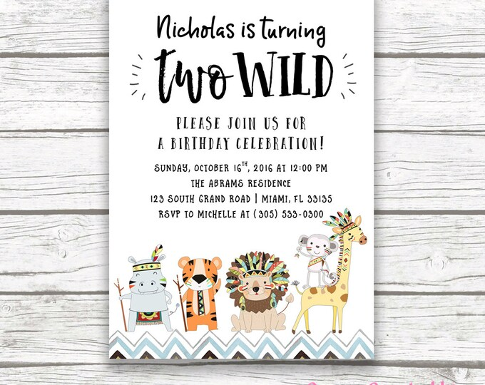 Two Wild Tribal Safari Animal Second 2nd Birthday Invitation, Jungle Invitation, Baby Boy Blue Hipster Birthday, Printed or Printable Invite