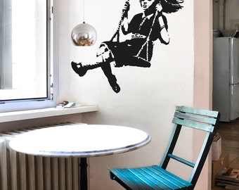 banksy wandtattoo ballon m dchen mit luftballon streetart. Black Bedroom Furniture Sets. Home Design Ideas