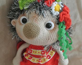 Hedgehog in the red. Handmade toys. Amigurumi. Present from Ukraine.