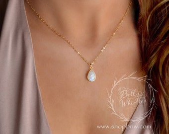 Delicate gemstone necklace, opal teardrop necklace, moonstone necklace, layering necklace, gemstone pendant necklace, gold necklace