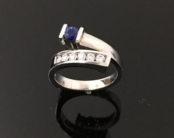 18K White Gold AAA Sapphire and Channel Set Diamond Ring- Channel Set Round Brilliant Diamond and Blue Sapphire Free Form Ring