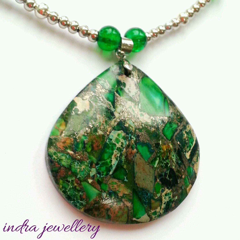 Creative Treasures Green Jasper Necklace Set from Beverly ...  |Green Jasper Jewelry