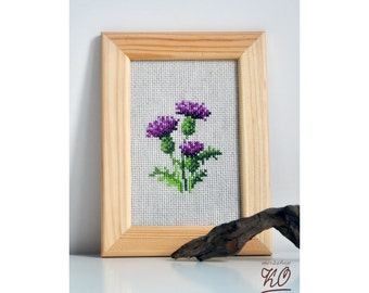"""Embroidered picture """"Thistle""""."""