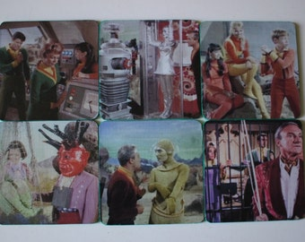 Lost in Space Coasters Science Fiction TV Show 1965-68 Retro Fun Bill Mumy Jonathan Harris  Hostess Gift Unique Gift Custom Made