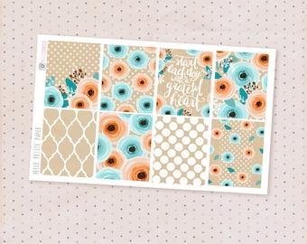 Winter garden, matte planner stickers - 8 decorative full box stickers