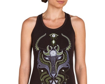Wolf Tank top- Shamanic Clothing- Spirit Animal- Fox Top-Graphic tee for women yoga tank-lizard-Yoga tee-Festival Top-Festival clothing