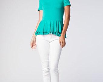 T30153 Short Sleeve Round Neck High Low Ruffle Flounce Peplum Skirt T Shirt Top (Made in USA)