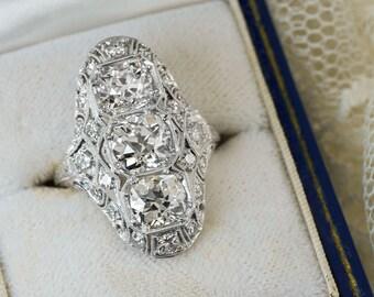 3.75 Carat Diamond Cocktail Ring Art Deco 3 Stone Platinum Right Hand Statement VS1 Old Mine European Cut Filigree Hand Milgrain  8640