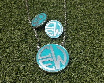 Monogrammed Necklace, Earring Set