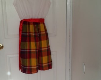 Madras Plaid & White Dress Size 10