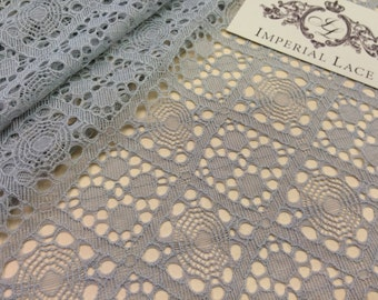 Gray lace fabric, Wedding lace, lingerie lace, grey chantilly geometric lace fabric  K00118