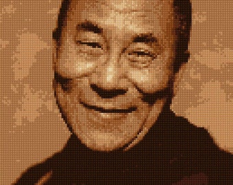 Dalai Lama Portrait Cross Stitch portrait pattern PDF - EASY chart with one color per sheet And traditional chart! Two charts in one!