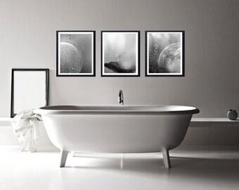 Dance Photography of black and white rain, Trio 3 photos, Deco Bathroom, Grayscale, Boho, shabby chic. Fine Art.
