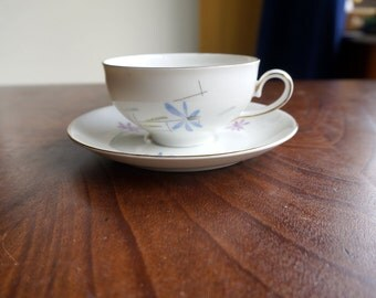 Vintage china cup and saucer by MOSA Maastricht Holland 118M, abstract blue and pink flowers, pure white, golden rims, modernist space age