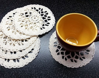 Milk Crochet Coasters Set of 6, Little Crochet Doilies, cotton coaster, lace doily, home decor, table decoration, handmade