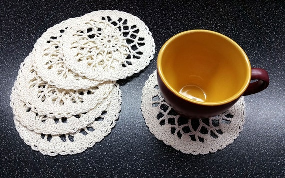 Milk Crochet Coasters Set of 6, Little Crochet Doilies, cotton coaster, lace doily, home decor, table decoration, handmade