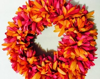 Hot pink and orange wreath