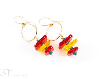 Red Murano glass geometric earrings - Venetian glass and turquoise gemstone contemporary earrings - Made in Italy red gold earrings